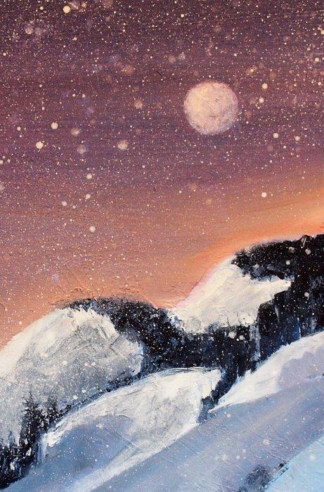Fersk Vinternatt - olje på lerret 70 x 90 uten ramme - Swahn Art AW-06